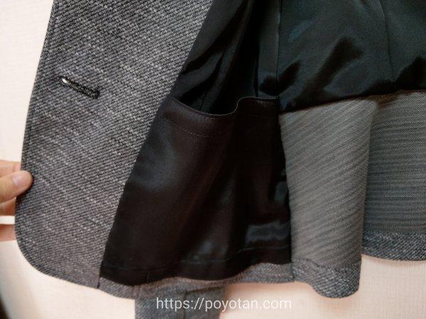 エアークローゼットから届いたジャケットの内側
