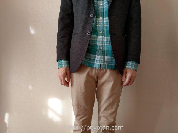 leeapジャケパンプラン:試着してみたらシャツの袖が出すぎ?