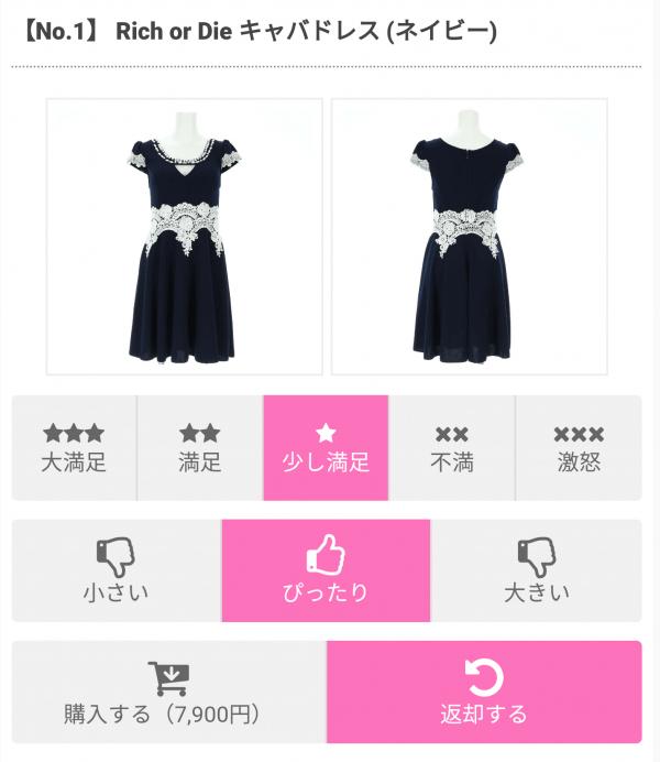 アールカワイイ(Rcawaii)のネイビーのキャバドレスの価格