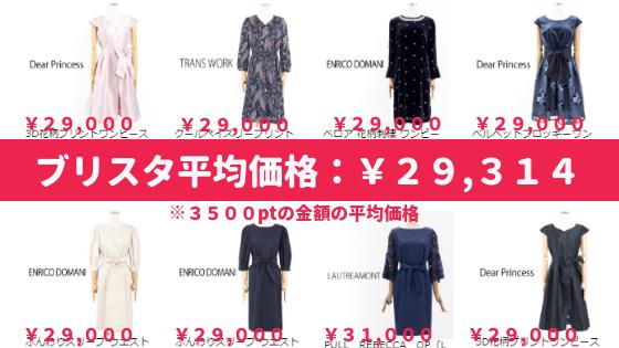 ブリスタの洋服の平均価格