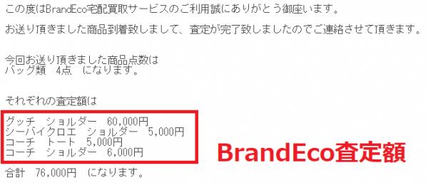 BrandEco宅配買取サービス査定額