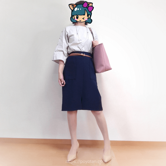 エディストクローゼット・サマーHAPPYBOX:袖スリット入りハリ感ブラウス・フロントスリットネイビースカート