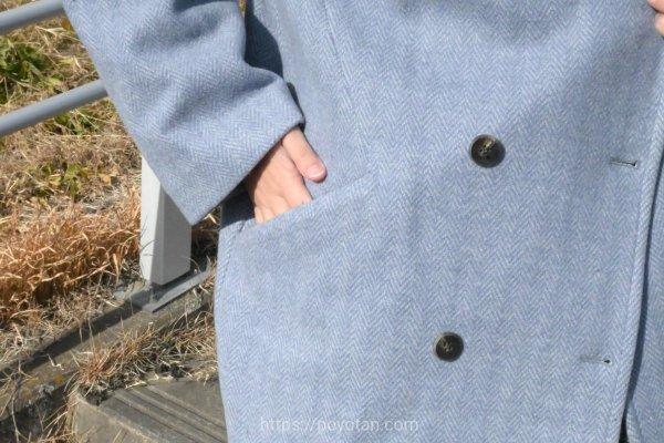 エディストクローゼットのヘリンボーンコクーンコート
